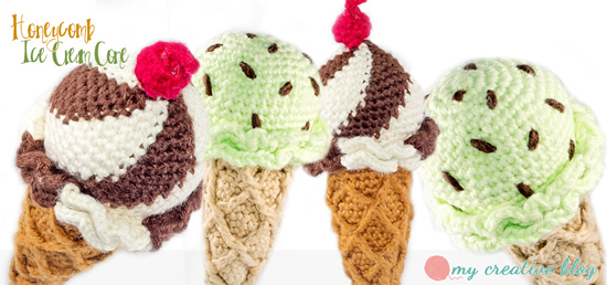 Crochet ice cream cones, free crochet pattern (and photo) by My Creative Blog