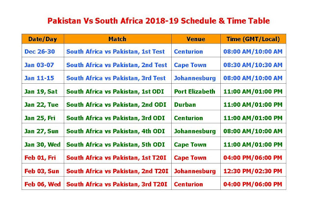 Pakistan Vs South Africa 2018-19 Schedule & Time Table, Pakistan tour of south Africa 2018-19, new South Africa vs Pakistan 2018 schedule, Pakistan Vs South Africa t20 series, Pak Vs RSA 2018-19 schedule Time table, Pak Vs RSA 2018-19 full fixture, Pak Vs RSA Series 2018-19, t20 series, ODI series, test series, 2019 ICC calendar, cricket schedule, Pakistan team, South Africa team, cricket match live score,   Pakistan tour of South Africa 2018-19 Schedule & Time Table #Cricket