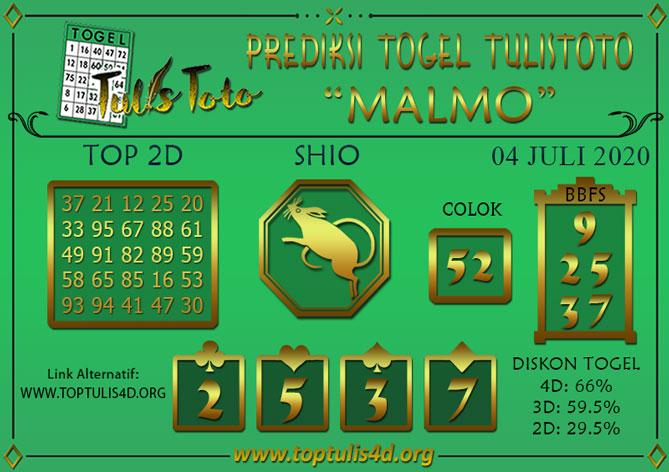 Prediksi Togel MALMO TULISTOTO 04 JULI 2020
