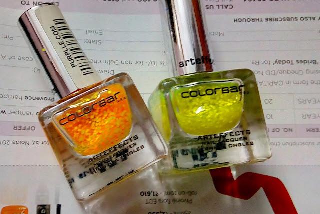 Colorbar Nail Laquers in Orange Pop & Lemon Pop