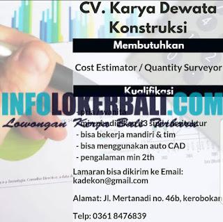 Info Lowongan Kerja CV. Karya Dewata Konstruksi Juni 2019