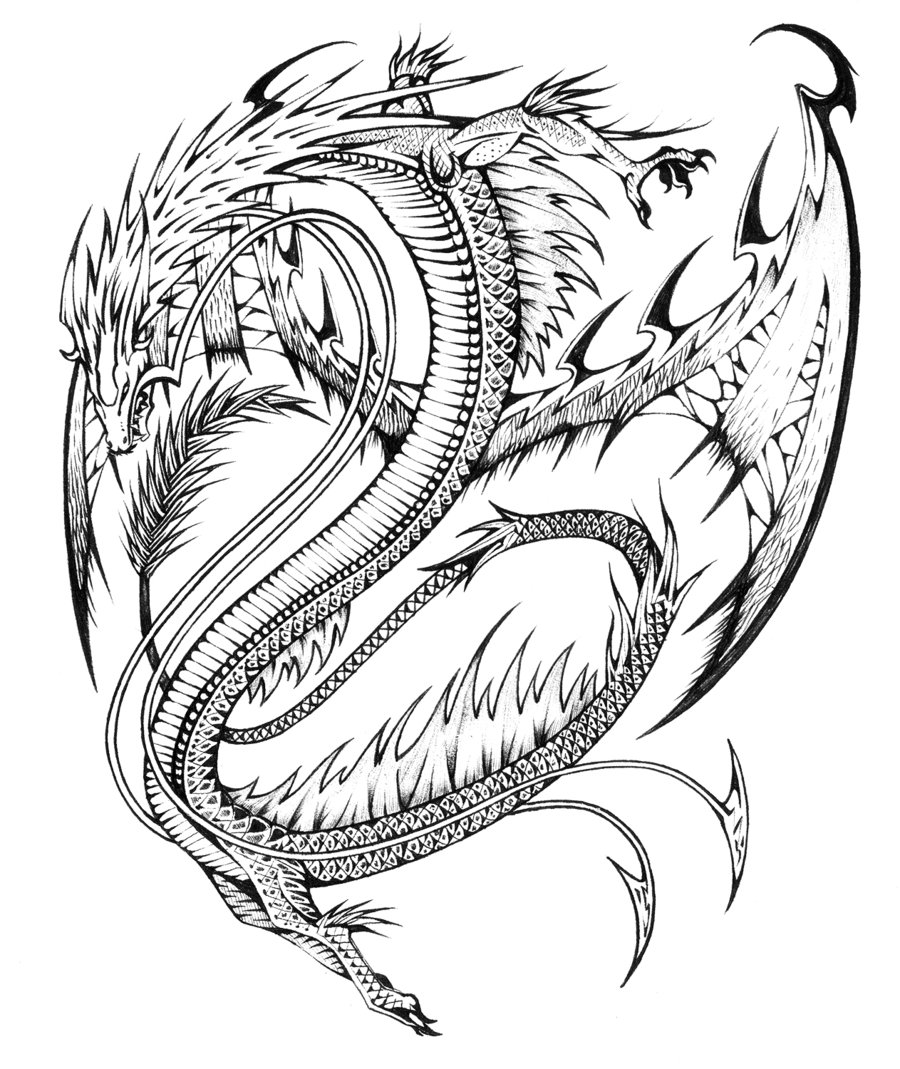 HD Realistic Dragon Coloring Pages Images - Free Coloring Book Images