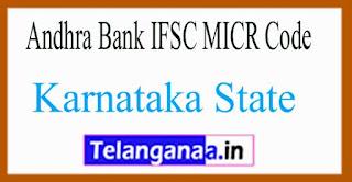 Andhra Bank IFSC MICR Code Karnataka State