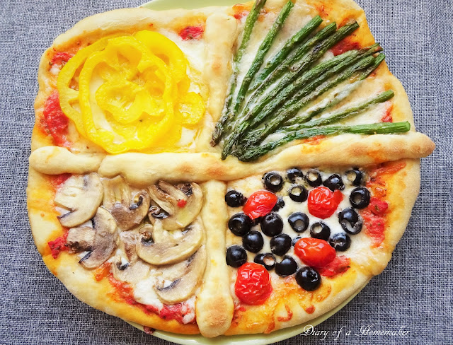 four-seasons-pizza-quattro-stagioni-bell pepper-tomatoes-olives-oil-mushrooms-pizza-dough