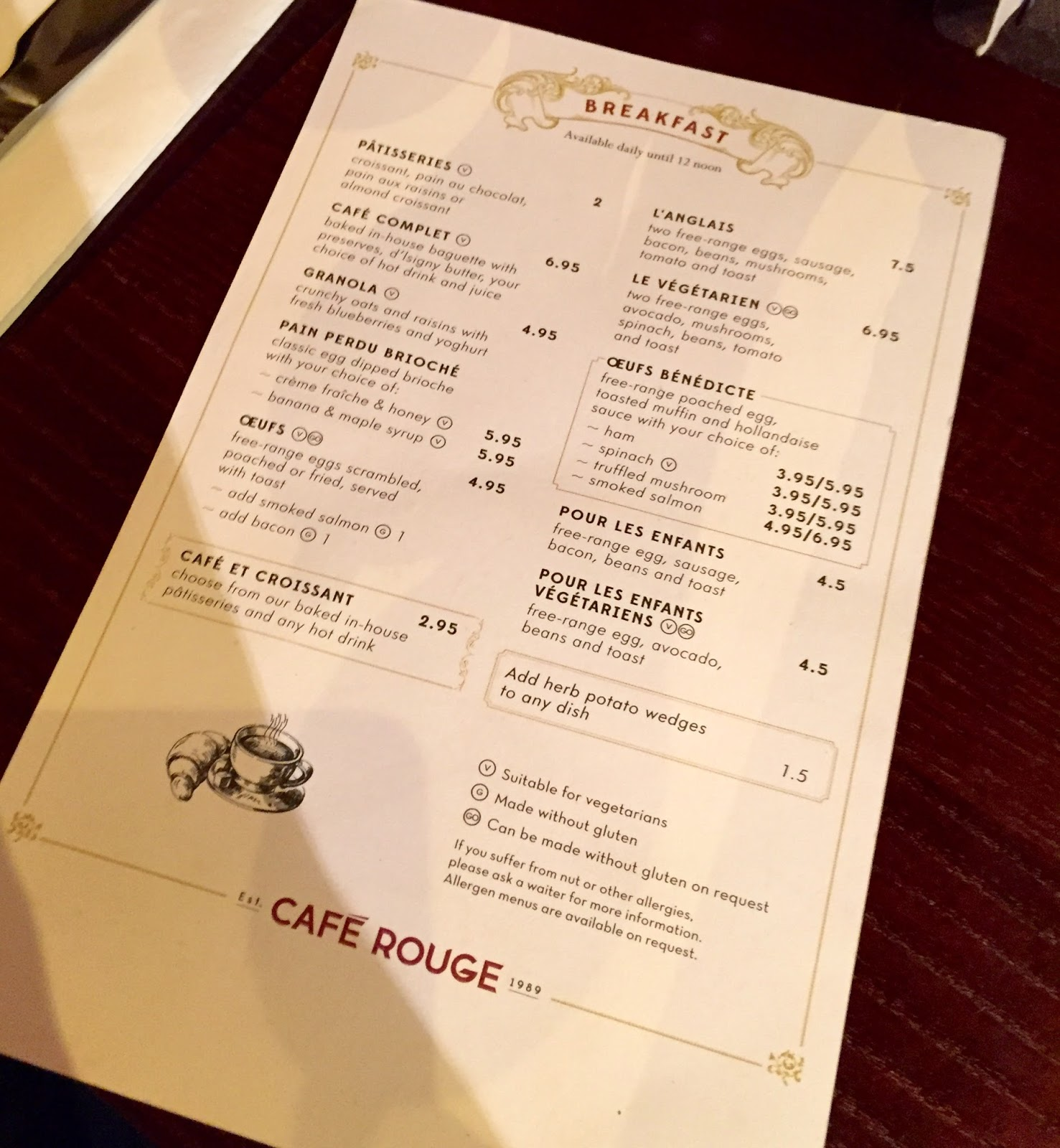 Cafe Rouge Breakfast Menu Chester