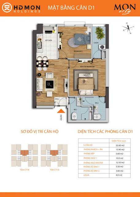 Căn hộ D1 diện tích 52m2 với thiết kế 02 phòng ngủ