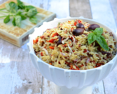 Summer Orzo with Radicchio, another easy summer salad ♥ AVeggieVenture.com. Great for Meal Prep. Vegan. Potluck Favorite. No Mayonnaise.