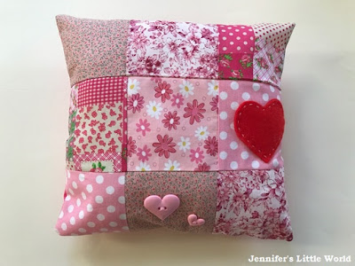 Simple heart themed patchwork cushion sewing project