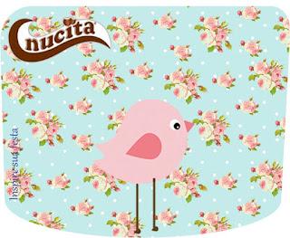 Etiqueta Nucita para Imprimir Gratis de Pajarito Rosa en Fondo Shabby Chic.