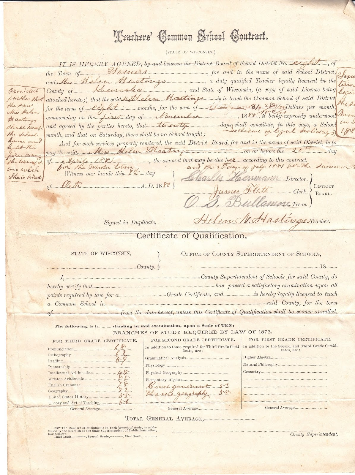 Somers Wisconsin Pioneer History 1880 Somers Teachers Contract