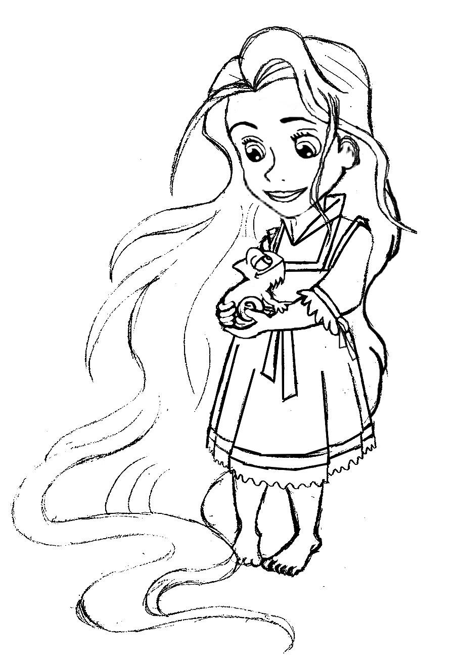 Disney Princess Coloring Pages Baby Rapunzel