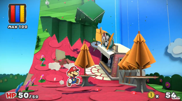 Paper Mario: Color Splash Shy Guys ground cardboard floor rollercoaster Toad coffee