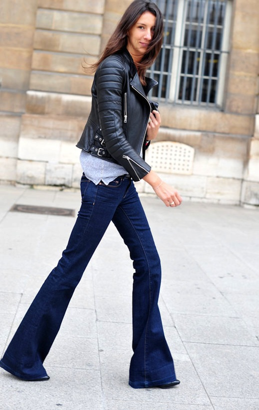 9 Ultra-Cool Ways to Wear Flared Jeans – Leather Jacket, Geraldine Saglio French Style