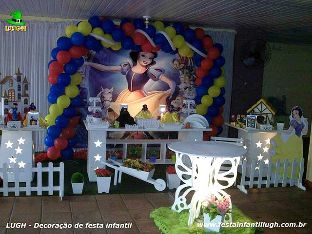 Decoração Branca de Neve - festa de aniversário infantil feminina - Provençal
