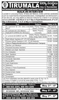 Tirumala Educational Institutions Rajahmundry Vizag, Bhimavaram Lecturers, Teachers, Non Teaching Staff Jobs Walk in interview