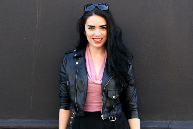 London fashion blogger Emma Louise Layla - pale pink, grey tweed and black leather outfit