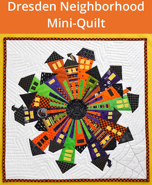 How to Make a Halloween Dresden Neighborhood Mini Quilt by Leslie of The Seasoned Homemaker