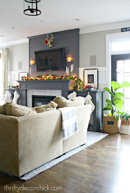 gray fireplace herringbone tile