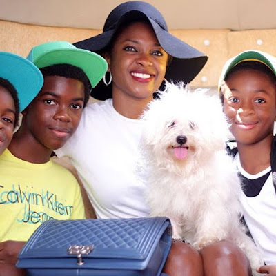 Omoni Oboli plays safe, announces true identity of dog in her family photo