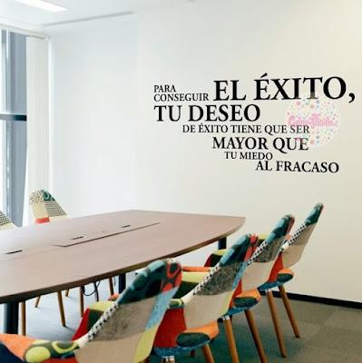 vinilo decorativo oficina sala comedor frase exito, vinilos decorativos pared oficinas empresa startup workplace
