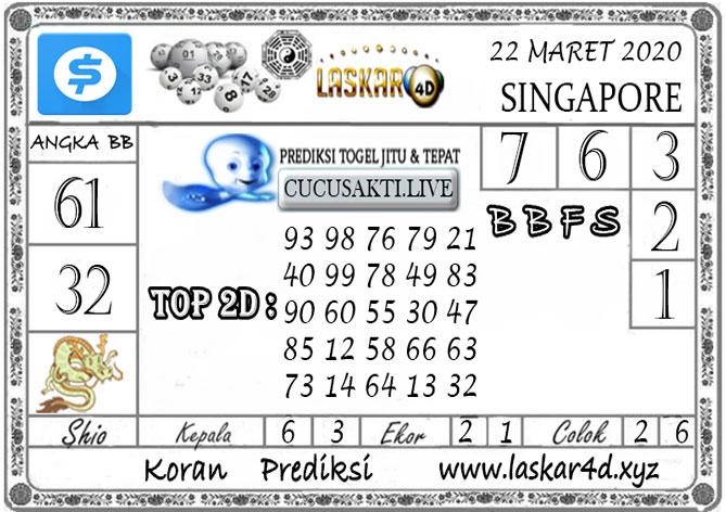 Prediksi Togel SINGAPORE LASKAR4D 22 MARET 2020