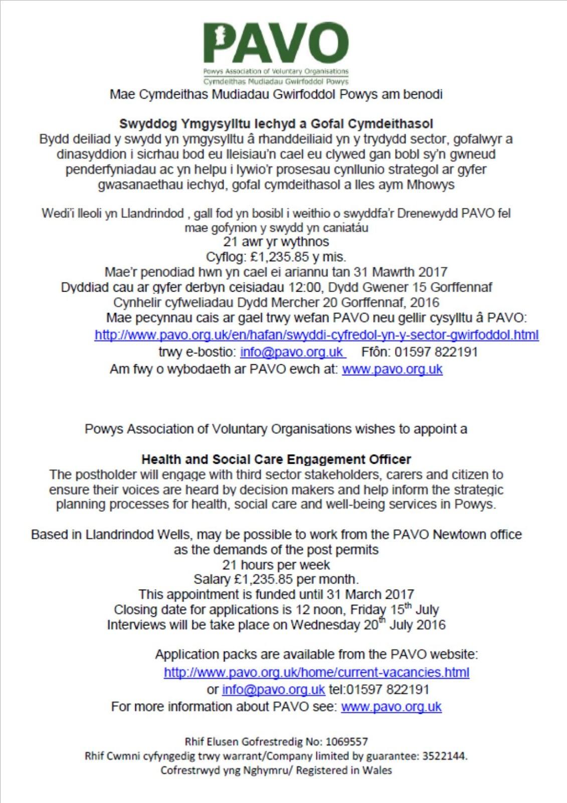 PAVO Children & Families Network: PAVO Job Vacancy - Health and ...