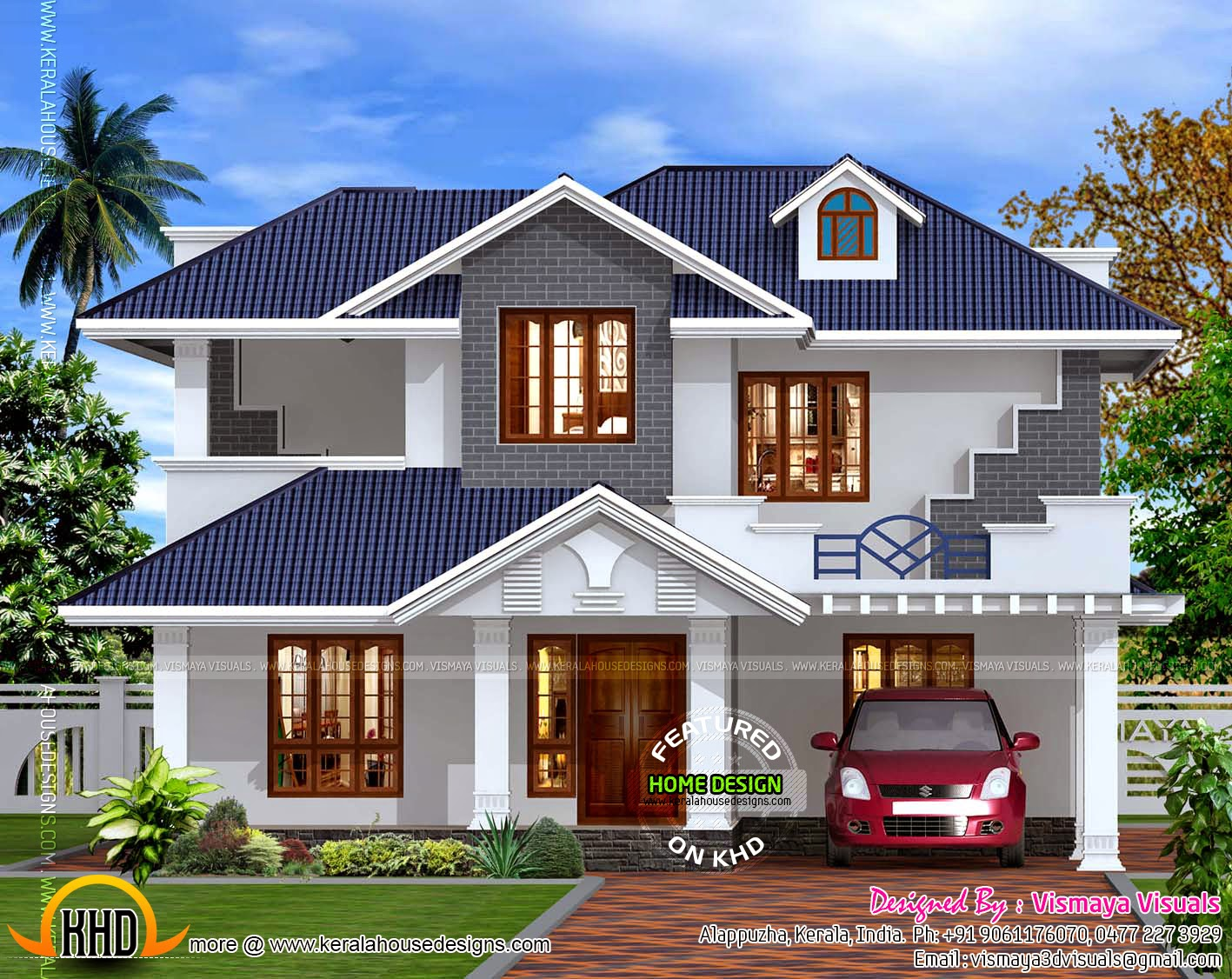 Kerala style villa exterior kerala home design and floor for Sloped roof house plans in india