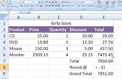 Excel Sale Invoice practice File