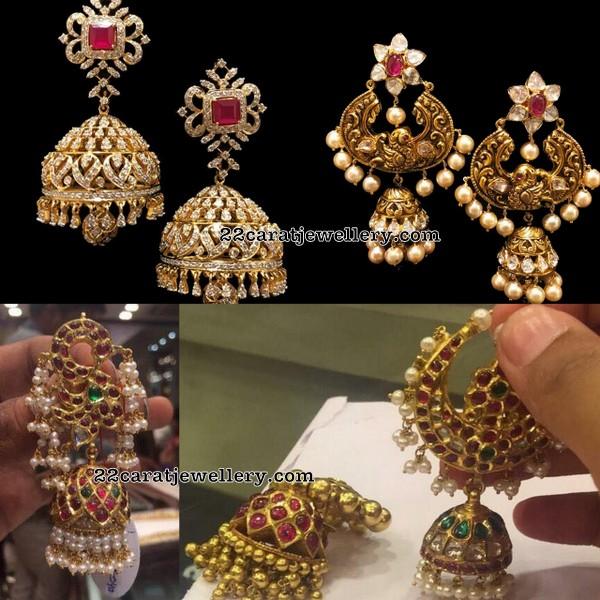 Peacock Jhumkas in Diamonds and Kundan Work