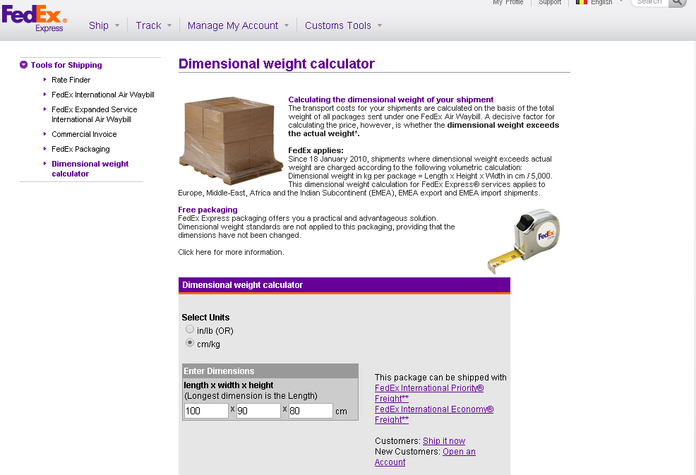 Fedex Dimensional weight calculator