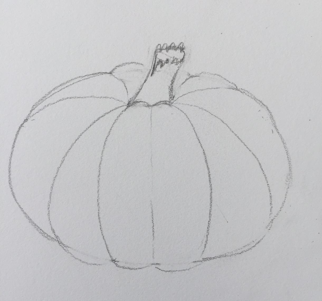 Art by Dea: KIDS! How to Draw a Slightly Sophisticated Pumpkin for Fall