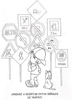 Dibujos educacion vial para Colorear ~ Dibujos para Niños