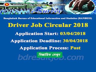 BANBEIS Driver Job Circular 2018