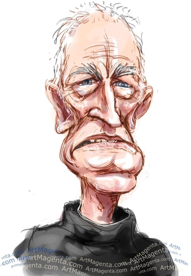 Max von Sydow caricature cartoon. Portrait drawing by caricaturist Artmagenta