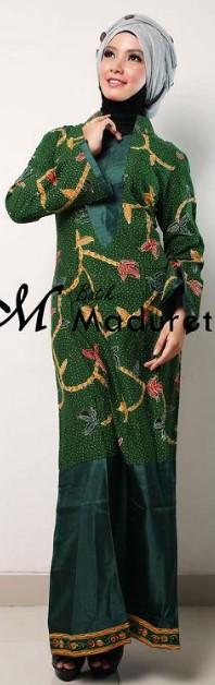 Model Long Dress Batik Kombinasi Polos berhijab