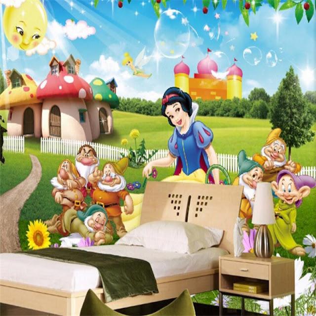 Disney Wall Mural Snow White Princess Cartoon Wallpaper Children Room