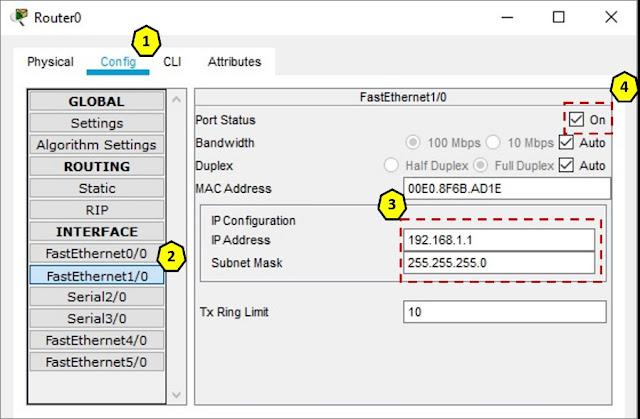 Router0 konfigurasi interface FastEthernet1/0 menggunakan GUI