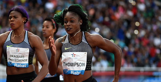 Blessing Okagbare and Elaine Thompson in Rabat Diamond League