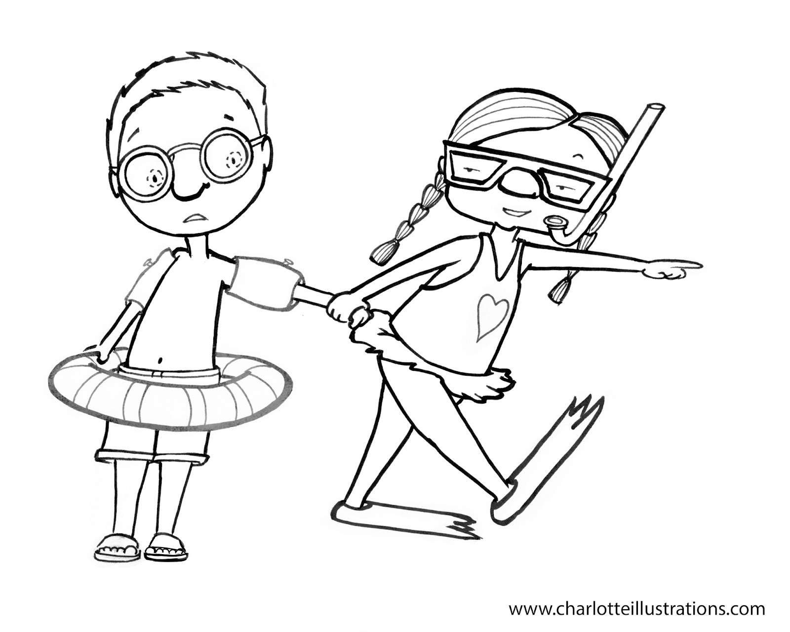 coloring pages swimming in a lake | Charlotte Illustrations: March 2013