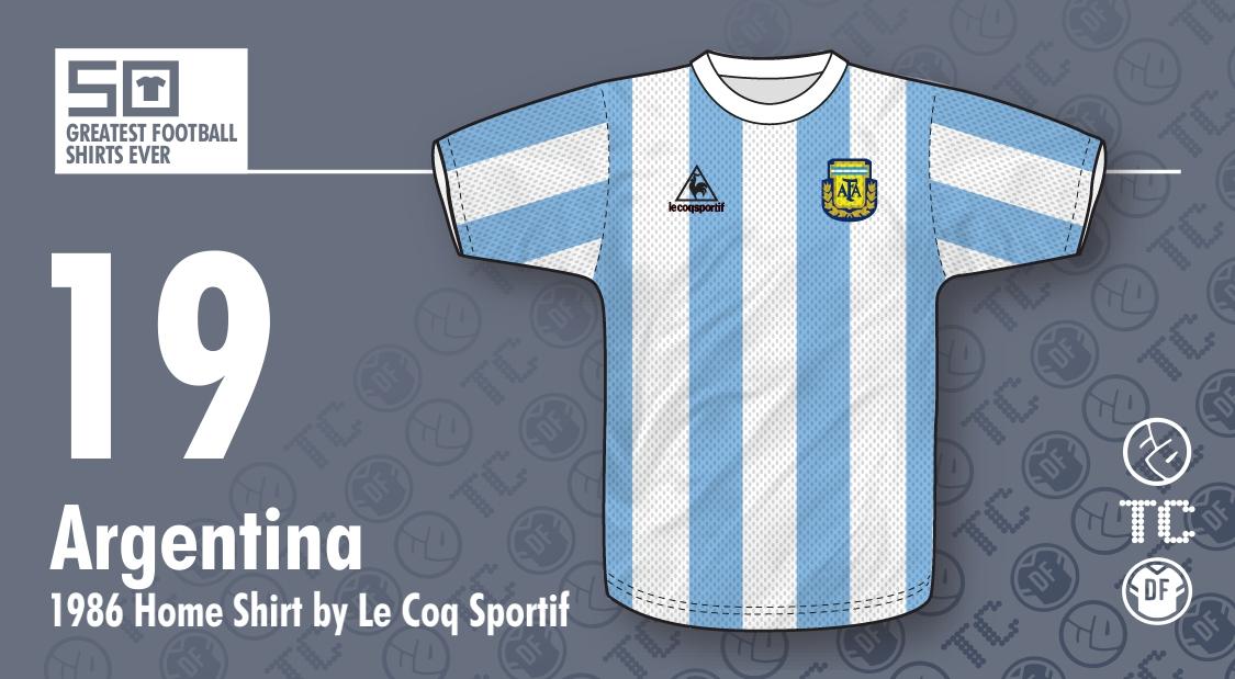 4ba45daea6 The 50 Greatest Football Shirts Ever: #19 - Argentina 1986 Home ...