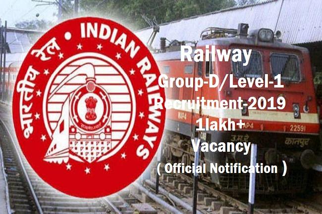 Railway Group-D/Level-1 New Recruitment -2019 - Gktojob
