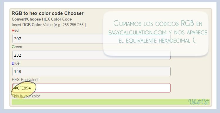 Conseguir el código de color HTML