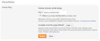 setelan pengalihan domain pada blogger