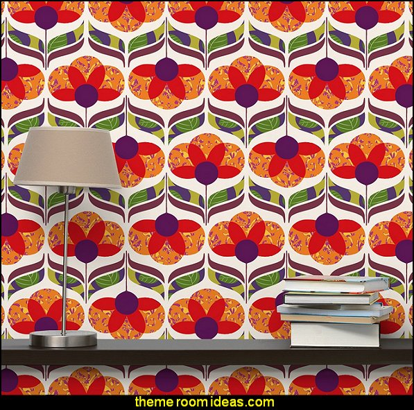 Flower power Mural  Groovy Funky Retro Bedroom Pictures - 60s style theme decorating -  70s theme decorating - Funky Flower Power Bedrooms - 70's Theme Decor - 70s theme bedroom decorating - Psychedelic  Tie Dye Hippie Hippy style flower power era