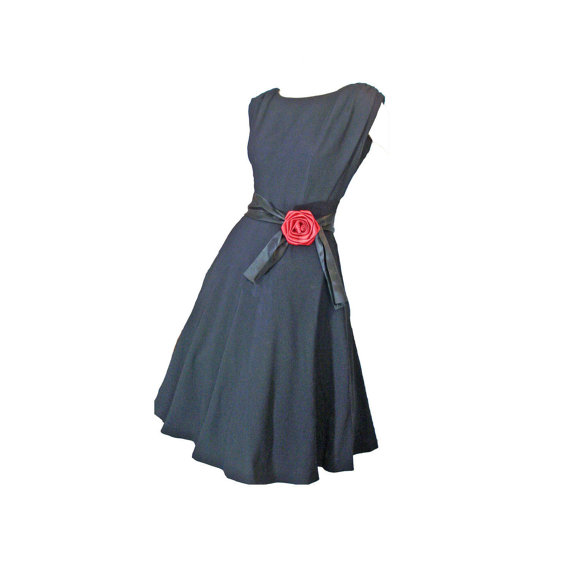 Vintage 1950s sleeveless flare skirt cocktail dress with red rose trim at waist
