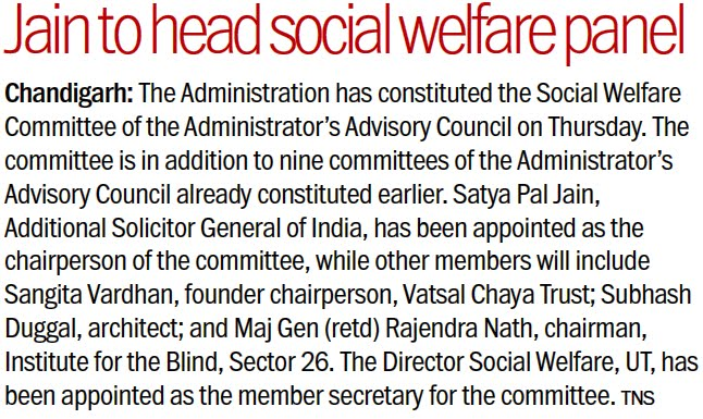 Jain to head social welfare panel