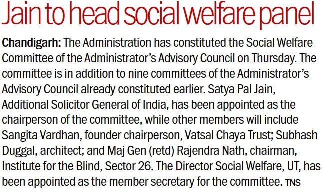 Jain to head social welfare panel