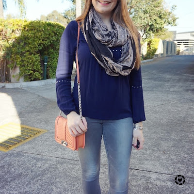 awayfromtheblue bloggers brunch skinny jeans outfit navy peasant boho blouse rebecca minkoff love bag