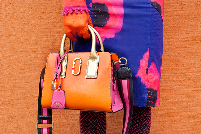 Marc Jacobs, Little Big Shot, orange and pink handbag