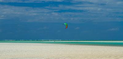 Charlotte Consorti kitesurfing in the lagoon